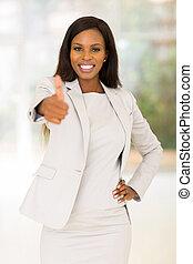 vrouw, duim, zakelijk, het opgeven, afrikaan