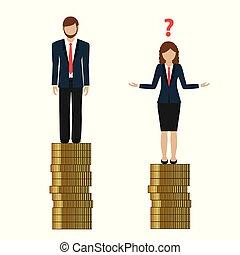 vrouw, earns, discriminates, minder, geld, dan, man