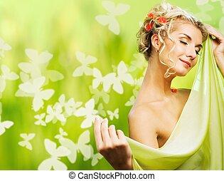 vrouw, eautiful, bloemen, fris, hair., jonge, concept., haar...