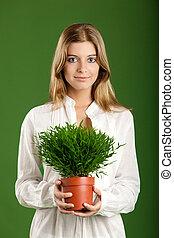 vrouw, ecologic