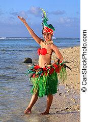 vrouw, eiland, jonge, pacific, tahitian, danser, polynesiër