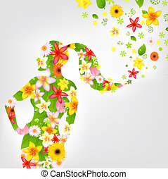 vrouw, en, bloem