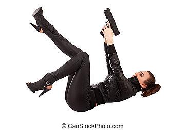 vrouw, en, geweer