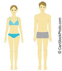 vrouw en man, lichaam, model