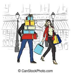 vrouw en man, met, het winkelen zakken