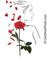 vrouw, en, roos