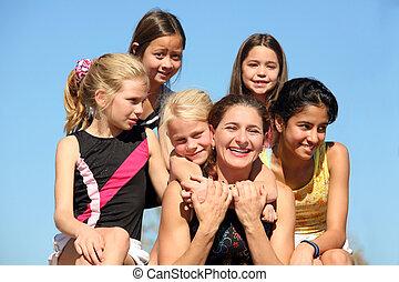 vrouw, en, vijf, meiden