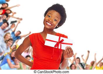 vrouw, envelope., jonge, afrikaans-amerikaan