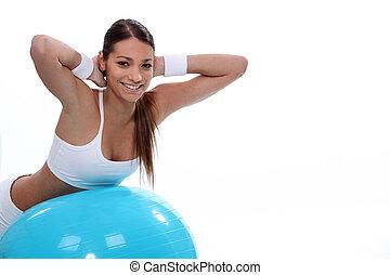 vrouw evenwicht, bal