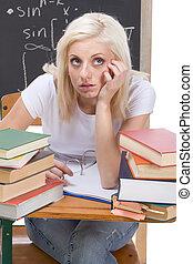 vrouw, examen, studerend , college student, kaukasisch, wiskunde