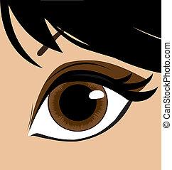 vrouw, eye., vector