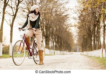 vrouw, fiets, jonge