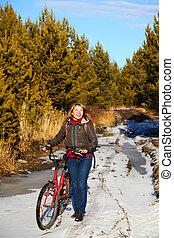 vrouw, fiets, natuur