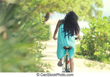 vrouw, fiets, plezier, paardrijden, strand, hebben