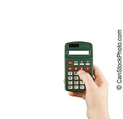 vrouw, financieel, zakelijk, rekenmachine, hand, machine, houden