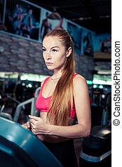 vrouw, fitness, club., rennende , exerciseon, gezondheid, tredmolen