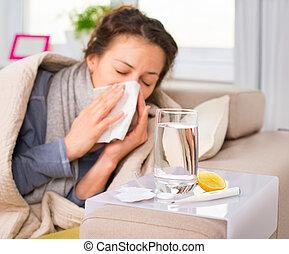 vrouw, flu., gevangenene, sneezing, cold., weefsel, ziek,...
