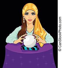 vrouw, fortuin, jonge, magisch, kristale bal, lezende ,...