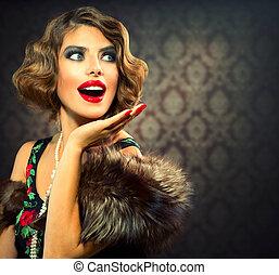 vrouw, foto, gestyleerd, lady., portrait., retro, ouderwetse , verwonderd