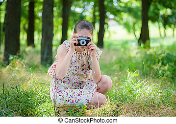 vrouw, fototoestel