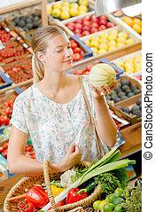 vrouw, fruit, aankoop