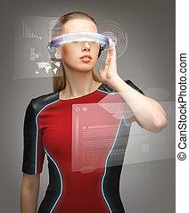 vrouw, futuristisch, bril
