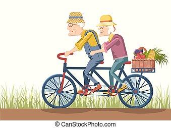 vrouw, gardeners, paar, besturen, oud, bike., man, vector