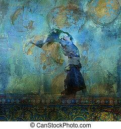 vrouw, gebaseerd, illustration., kleurrijke, foto, maan, stars., zand, blazen, dune., upraised, jurkje