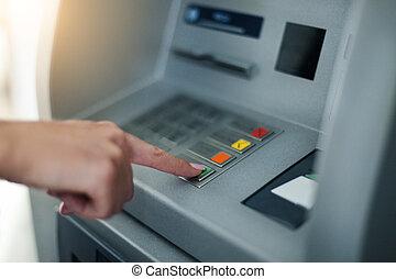 vrouw, gebruik, bankwezen machine