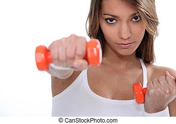 vrouw, gebruik, gewichten