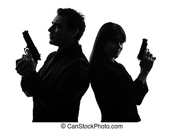 vrouw, geheim, detective, paar, man, crimineel, agent, silhouette