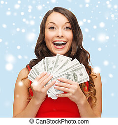 vrouw, geld, dollar, ons, jurkje, rood