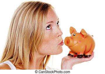 vrouw, geld, sparen, jonge