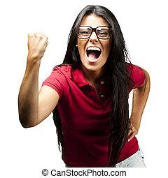 vrouw, gesturing, overwinning
