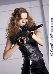 vrouw, gevaar, geweer, machine, speelbal, studio