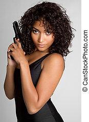 vrouw, geweer