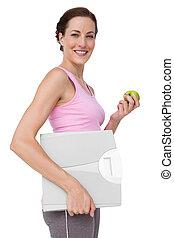 vrouw, gewicht, jonge, verticaal, appel, schub