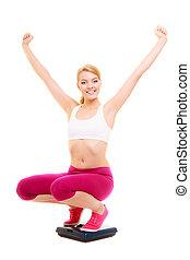 vrouw, gewicht, loss., weging, blij, scale., slimming