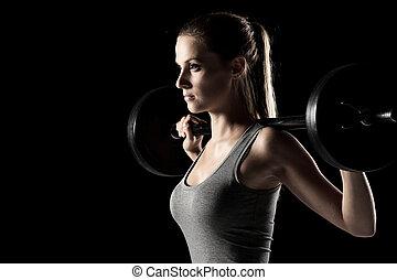 vrouw, gewichten, het tilen