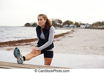 vrouw, gezonde,  Workout, na,  Stretching, strand