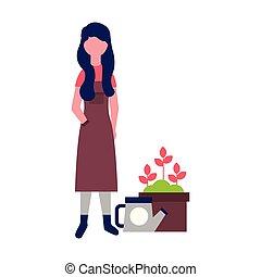 vrouw, gieter, potted bloemen, tuinman