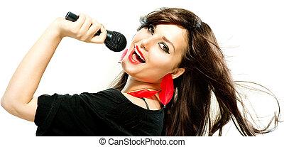 vrouw, girl., microfoon, beauty, het zingen, op, mooi, witte
