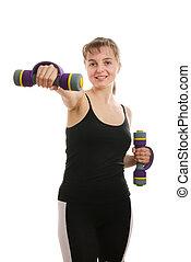 vrouw glimlachen, fitness, barbells