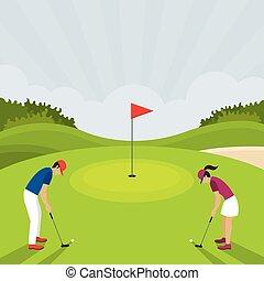vrouw, golf, spelend, man