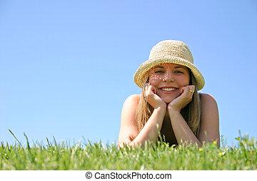 vrouw, gras