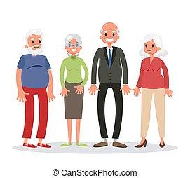 vrouw, groep, mensen, oud, senior, standing., man