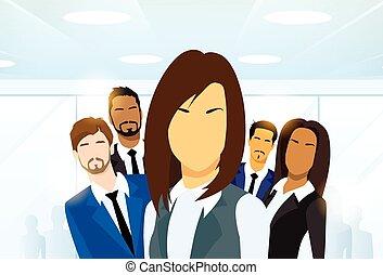 vrouw, groep, zakenlui, anders, de leider van het team