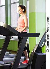 vrouw, gym, gespierd, rennende , fitness, meisje, benen, treadmill.