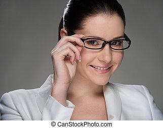 vrouw, haar, aanpassen, businesswoman., vrijstaand, ...