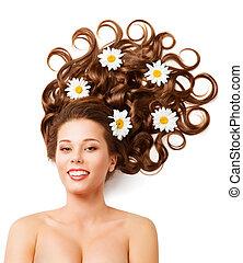 vrouw, haar, bloemen, mode, krullend, hairstyle, witte , madeliefjes